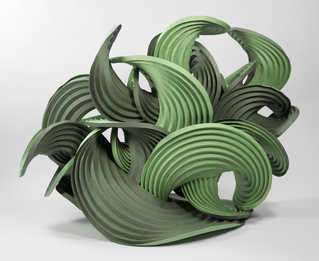 Green Curved Origami structure from Erik Demaine's Watercolor Series