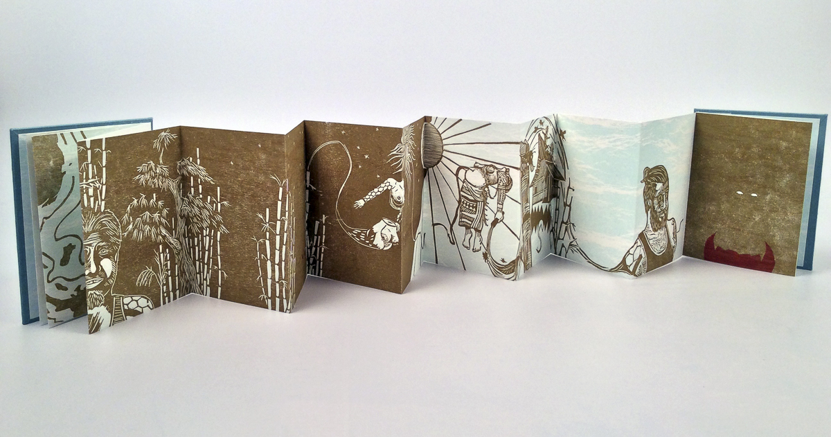 """Ninuno Espiritu"" is an artist's book made of handmade paper printed withographs and woodcuts. The accordion book has no text, and illustrations spread from page to page."