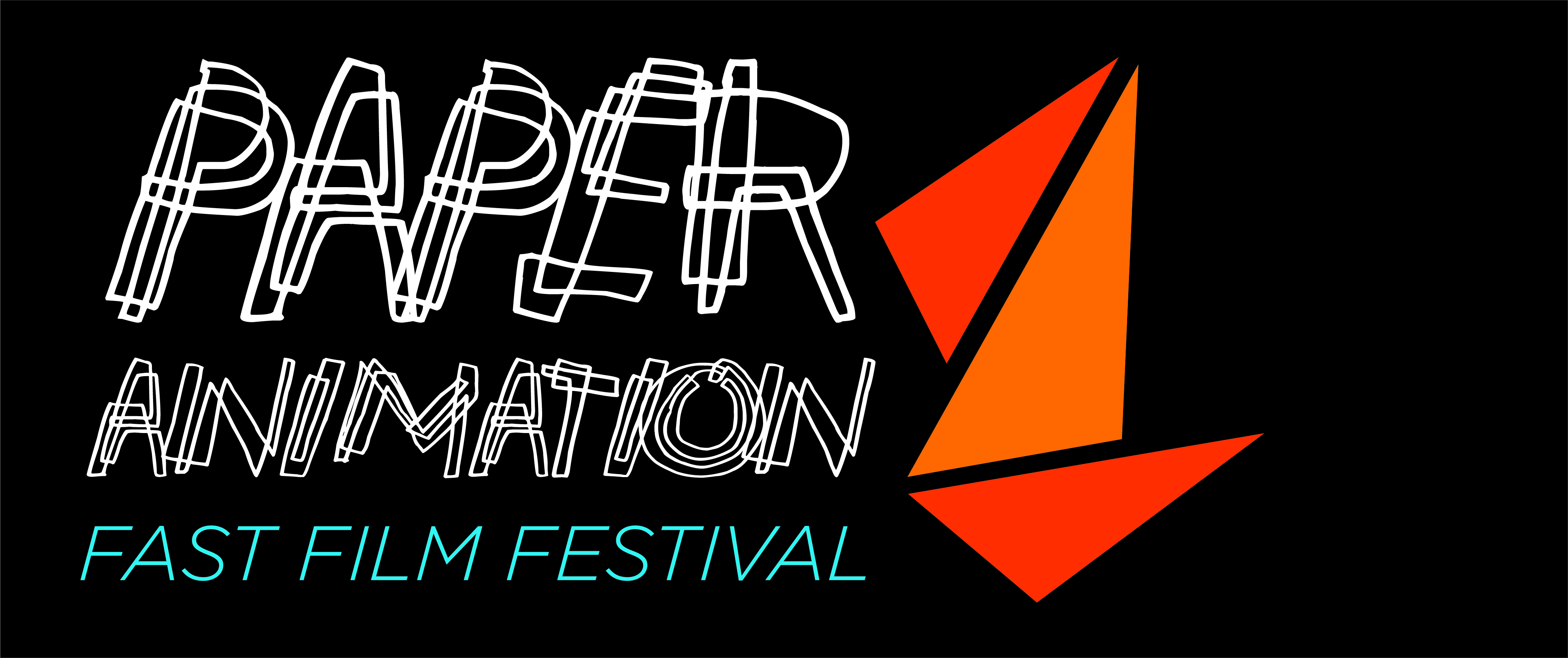 Paper Animation Fest Logo - white scribble text and orange triangles that replicate folded paper