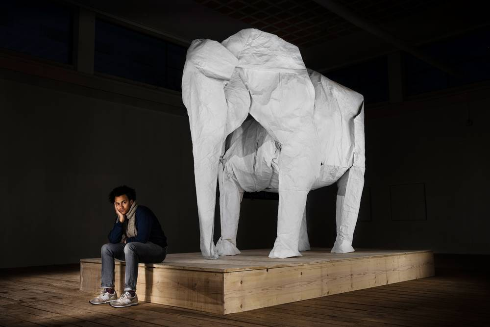 photo of giant origami elephant by artist Sipho Mabona
